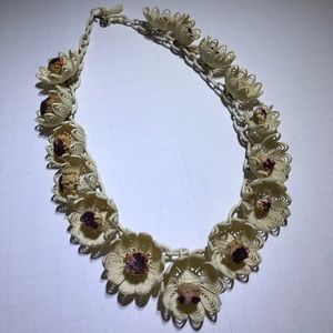 Vintage old celluloid resin chain flower necklace